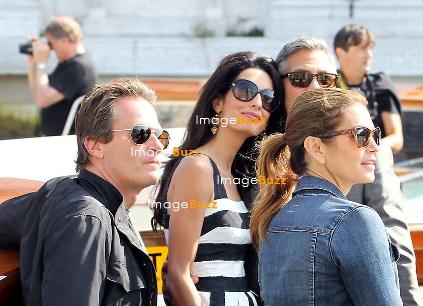 Cindy Crawford, Rande Gerber, George Clooney &amp; Amal Amaluddin -  GEORGE CLOONEY &amp; AMAL ALAMUDDIN ARRIVE IN VENICE FOR THE WEDDING - <br /> George Clooney &amp; British fiancee Amal Alamuddin arriving in Venice with guests, prior to their wedding day. <br /> The couple and their guests took a taxi boat called 'Amore'.<br /> Robert De Niro, Matt Damon, Brad Pitt and Cate Blanchett were among the other stars, like Cindy Crawford, Rande Gerber, Bill Murray, Emily Blunt.<br /> Italy, Venice, 26 September, 2014.