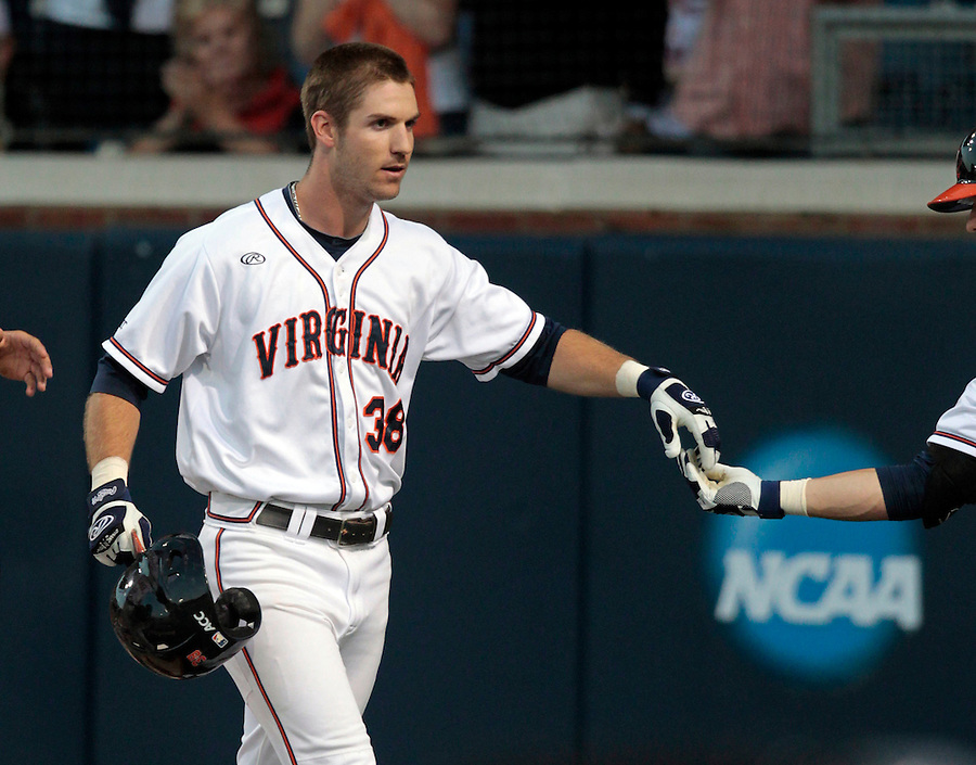 Virginia outfielder Mike Papi (38) celebrates a home run in the first inning during the game against Arkansas Saturday night at Davenport Field in Charlottesville, VA. Photo/The Daily Progress/Andrew Shurtleff