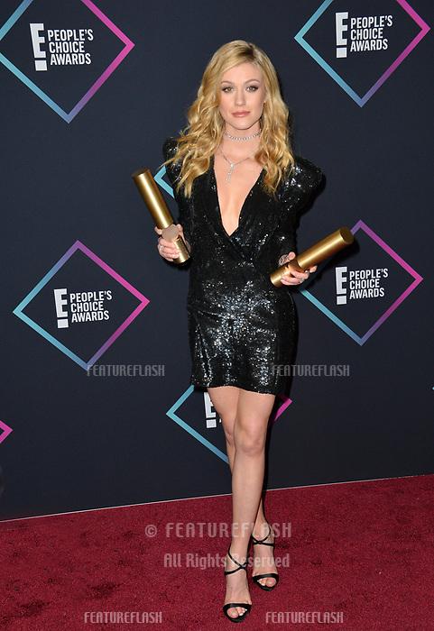LOS ANGELES, CA. November 11, 2018: Katherine McNamara at the E! People's Choice Awards 2018 at Barker Hangar, Santa Monica Airport.<br /> Picture: Paul Smith/Featureflash
