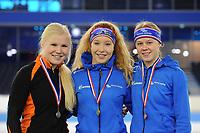 SCHAATSEN: HEERENVEEN: 05-02-2017, KPN NK Junioren, Podium Junioren B Dames 1000m, Rachelle van de Griek, Michelle de Jong, Femke Beuling, ©foto Martin de Jong