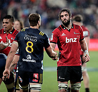 Luke Whitelock shakes brother Sam's hand after the Super Rugby match between the Crusaders and Highlanders at Wyatt Crockett Stadium in Christchurch, New Zealand on Friday, 06 July 2018. Photo: Martin Hunter / lintottphoto.co.nz