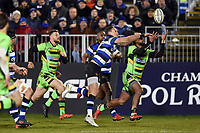 James Wilson of Bath Rugby looks to gather the ball. Aviva Premiership match, between Bath Rugby and Northampton Saints on February 9, 2018 at the Recreation Ground in Bath, England. Photo by: Patrick Khachfe / Onside Images