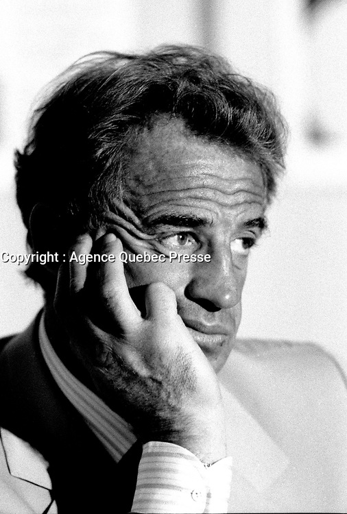 May 6, 1985 File Photo -  News conference for the movie HOLD UP ( a French-Quebec co production shot in Montreal) with actor Jean-Paul Belmondo