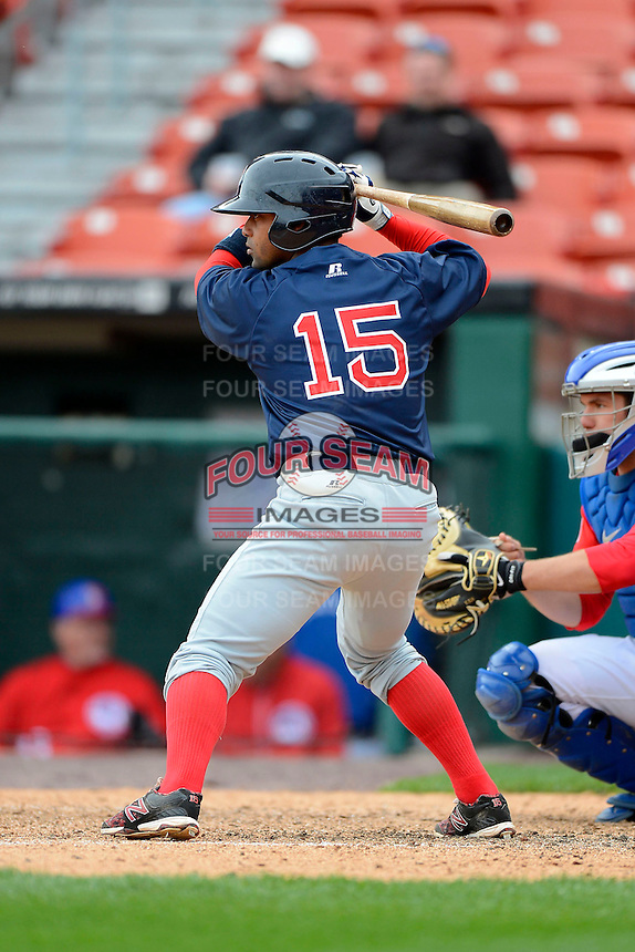 Pawtucket Red Sox catcher Alberto Rosario #15 during the second game of a doubleheader against the Buffalo Bisons on April 25, 2013 at Coca-Cola Field in Buffalo, New York.  Buffalo defeated Pawtucket 4-0.  (Mike Janes/Four Seam Images)