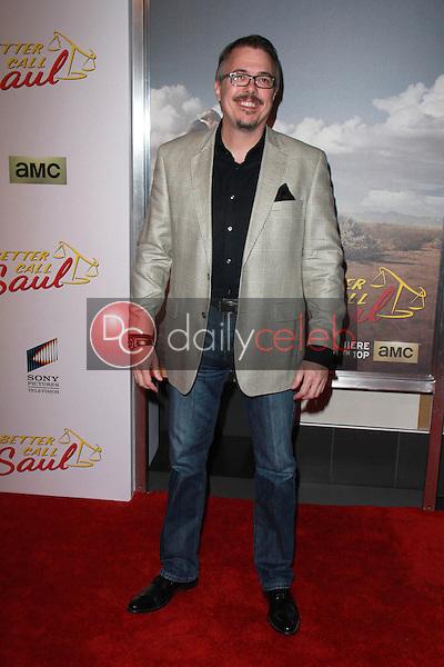 "Vince Gilligan<br /> at the ""Better Call Saul"" Series Premiere Screening, Regal Cinemas, Los Angeles, CA 01-29-15<br /> David Edwards/DailyCeleb.com 818-249-4998"