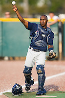 Catcher Angel Salome (26) of the Huntsville Stars warms up the starting pitcher in the bullpen prior to the start of the game versus the Jacksonville Suns at the Baseball Grounds in Jacksonville, FL, Thursday June 12, 2008.