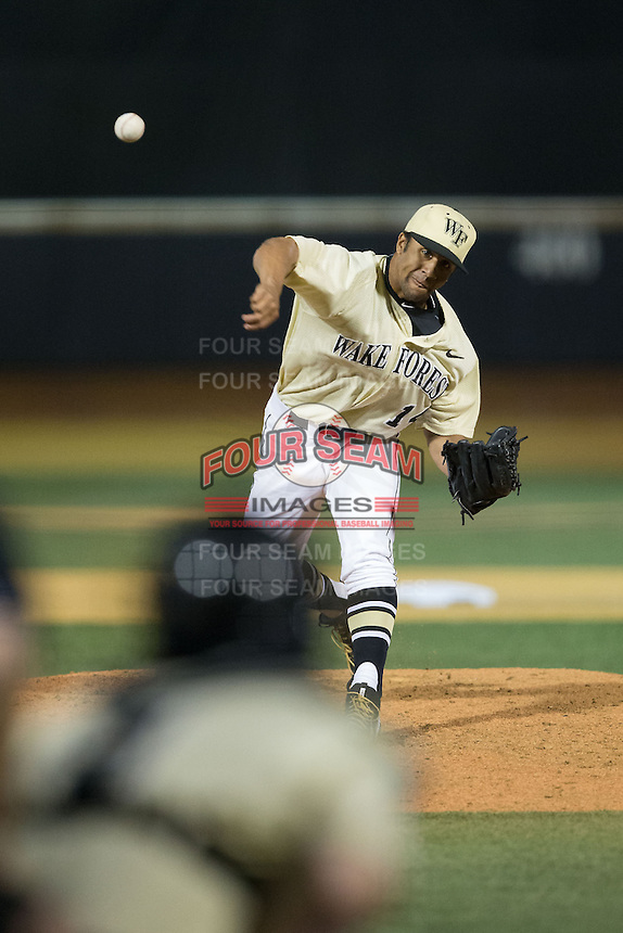 Wake Forest Demon Deacons relief pitcher Donnie Sellers (14) in action against the UConn Huskies at Wake Forest Baseball Park on March 17, 2015 in Winston-Salem, North Carolina.  The Demon Deacons defeated the Huskies 6-2.  (Brian Westerholt/Four Seam Images)