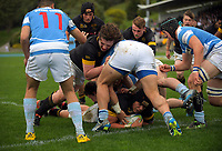 Naitoa Ah Kuoi scores during the Weltec Premiership Wellington secondary schools 1st XV rugby final between St Patrick's College Silverstream and Wellington College at Porirua Park in Wellington, New Zealand on Sunday, 20 August 2017. Photo: Dave Lintott / lintottphoto.co.nz