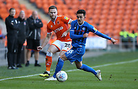 Blackpool's Oliver Turton and Rochdale's Harrison McGahey<br /> <br /> Photographer Stephen White/CameraSport<br /> <br /> The EFL Sky Bet League One - Blackpool v Rochdale - Saturday 6th October 2018 - Bloomfield Road - Blackpool<br /> <br /> World Copyright © 2018 CameraSport. All rights reserved. 43 Linden Ave. Countesthorpe. Leicester. England. LE8 5PG - Tel: +44 (0) 116 277 4147 - admin@camerasport.com - www.camerasport.com