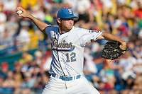 UCLA starting pitcher Gerrit Cole delivers a pitch in Game One of the NCAA Division One Men's College World Series Finals on June 28th, 2010 at Johnny Rosenblatt Stadium in Omaha, Nebraska.  (Photo by Andrew Woolley / Four Seam Images)