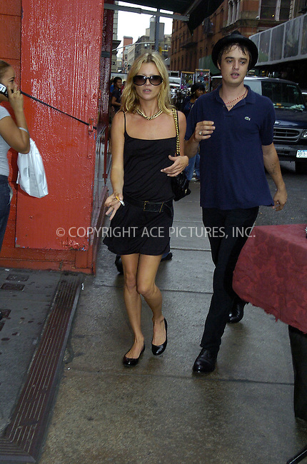 WWW.ACEPIXS.COM . . . . .  ....NEW YORK, SEPTEMBER 14, 2005....Kate Moss and her latest boyfriend, singer for The Libertines, Pete Doherty walked from trendy SoHo restaurant Balthazar to their hotel. On seeing the waiting photographers and reporters, the pair broke into a run. Doherty then proceeds to grab and threaten a British newspaper reporter who attempted to interview him in the street. He also knocked a photographer to the ground causing her to sustain minor injuries and damage to her camera. Eventually the two made it to their SoHo hotel. Later Pete Doherty appeared at the window of their room with a lovely hand gesture and his guitar.....Please byline: Philip Vaughan -- ACE PICTURES.... *** ***..Ace Pictures, Inc:  ..Craig Ashby (212) 243-8787..e-mail: picturedesk@acepixs.com..web: http://www.acepixs.com