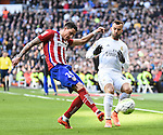 Real Madrid´s Jese Rodriguez and Atletico de Madrid´s Gimenez during 2015/16 La Liga match between Real Madrid and Atletico de Madrid at Santiago Bernabeu stadium in Madrid, Spain. February 27, 2016. (ALTERPHOTOS/Javier Comos)