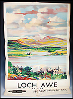 BNPS.co.uk (01202 558833)<br /> Pic:   LindsayBurns&Co/BNPS<br /> <br /> Poster advertising Loch Awe in the Scottish Highlands.<br /> <br /> A collection of stylish vintage railway posters which celebrate the golden age of the seaside package holiday have been unearthed during a house clearance.<br /> <br /> The colourful 1950s posters were discovered under a pile of knick-knacks at the back of a cupboard in a deceased elderly couple's flat in Perthshire, east Scotland.<br /> <br /> They include a racy image of a lady in a bikini promoting the resort of Mablethorpe, Lincs, and a sweet picture of a mother playing with her young child on the beach at Bognor Regis, West Sussex.<br /> <br /> In total, eight posters produced by British Railways will go under the hammer with auction house Lindsay Burns & Co of Perth, where they are expected to fetch £1,000.