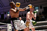 Dan Keenan (white shorts) defeats Ladislav Nemeth during a Boxing Show at York Hall on 10th June 2017