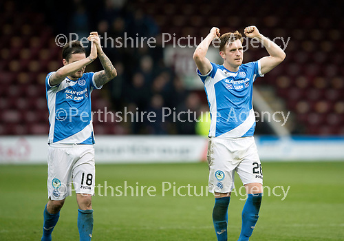 Motherwell v St Johnstone…18.03.17     SPFL    Fir Park<br />Paul Paton and Liam Craig celebrate at full time<br />Picture by Graeme Hart.<br />Copyright Perthshire Picture Agency<br />Tel: 01738 623350  Mobile: 07990 594431
