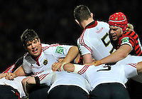 Watford, England. Donncha O'Callaghan of Munster directs the scrum during the Heineken Cup match between Saracens and Munster Rugby at the Vicarage Road on December 16, 2012 in Watford, England.