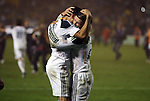 20 November 2011: Los Angeles' Landon Donovan (left) and David Beckham (ENG) (23) embrace after the game. The Los Angeles Galaxy defeated the Houston Dynamo 1-0 at the Home Depot Center in Carson, CA in MLS Cup 2011, Major League Soccer's championship game.