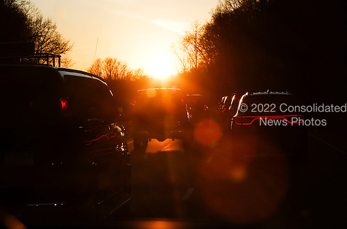 The Presidential Motorcade drives back to Washington, DC on Friday March 18, 2016 following United States President Barack Obama's round of golf at Joint Base Andrews in Maryland.<br /> Credit: Aude Guerrucci / Pool via CNP