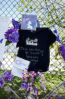 Electric Fetus record store T-shirt on memorial wall thanking Prince. Paisley Park Studios Chanhassen Minnesota MN USA