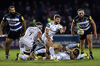 Dave Lewis of Exeter Chiefs passes the ball. West Country Challenge Cup match, between Bath Rugby and Exeter Chiefs on October 10, 2015 at the Recreation Ground in Bath, England. Photo by: Patrick Khachfe / Onside Images