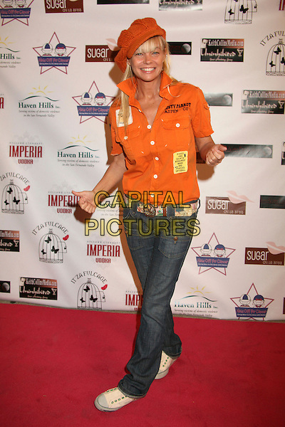 "JULIE McCULLOUGH.""Hats Off For Cancer"" Benefit Party at Sugar Boutique, Hollywood, California, USA..May 9th, 2007.full length orange knitted hat shirt jeans denim .CAP/ADM/BP.©Byron Purvis/AdMedia/Capital Pictures"