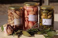 Europe/France/Auvergne/12/Aveyron/Villefranche-de-Rouergue: Bocaux fermiers d'échalotes et de cornichons au vinaigre sur le marché de la place Notre-Dame