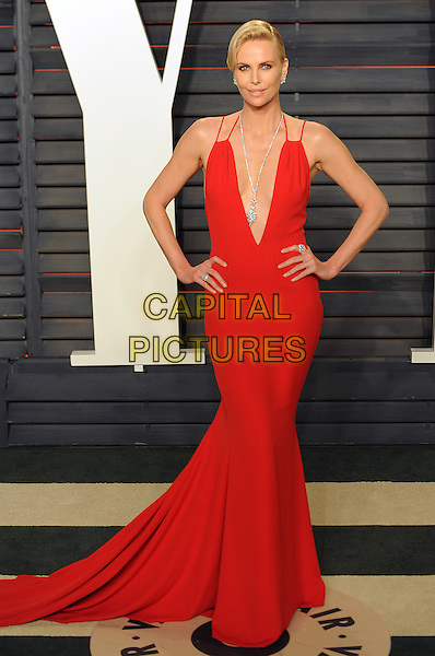BEVERLY HILLS - FEBRUARY 28: Charlize Theron arrives at the Vanity Fair Oscar Party 2016 at the Wallis Annenberg Center for the Performing Arts on February 28, 2016 in Beverly Hills, California. <br /> CAP/MPI/PWPG <br /> &copy;PWPG/MPI/Capital Pictures