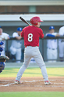 Casey Turgeon (8) of the Johnson City Cardinals at bat against the Burlington Royals at Burlington Athletic Park on July 14, 2014 in Burlington, North Carolina.  The Cardinals defeated the Royals 9-4.  (Brian Westerholt/Four Seam Images)