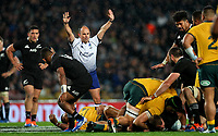 Referee Jaco Peyper in action during the Bledisloe Cup rugby match between the New Zealand All Blacks and Australia Wallabies at Eden Park in Auckland, New Zealand on Saturday, 17 August 2019. Photo: Simon Watts / lintottphoto.co.nz