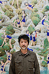 Tokyo, December 7 2012 - Portrait of japanese artist Makoto AIDA at his exhibition in Mori Art Museum, Roppongi.