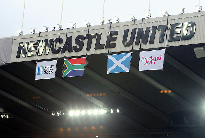 South Africa and Scotland flags hang at St James's Park, Newcastle, home of Scotland<br /> <br /> Photographer Rich Linley/CameraSport<br /> <br /> Rugby Union - 2015 Rugby World Cup Pool B - South Africa v Scotland - Saturday 3rd October 2015 - St James's Park - Newcastle<br /> <br /> &copy; CameraSport - 43 Linden Ave. Countesthorpe. Leicester. England. LE8 5PG - Tel: +44 (0) 116 277 4147 - admin@camerasport.com - www.camerasport.com