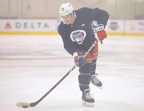 Ty Ronning #59 skates during New York Rangers Prospect Camp at Madison Square Garden Training Center in Greenburgh, NY on Tuesday, June 26, 2018.