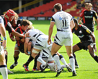Aviva Premiership Rugby Saracens v Sale Sharks from Vicarage Road, Watford, England. 11th September 2010. Schalk Brits of Saracens gets pushed back from the line.