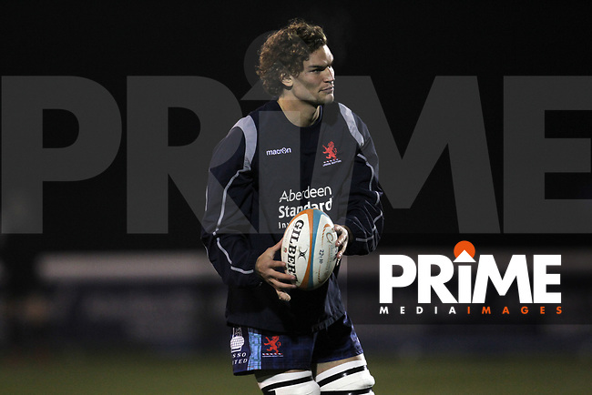 London Scottish players warm up before the Championship Cup match between London Scottish Football Club and Ealing Trailfinders at Richmond Athletic Ground, Richmond, United Kingdom on 23 November 2018. Photo by Harry Hubbard/PRiME Media Images