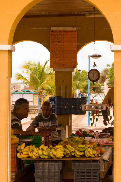 Kralendijk, Bonaire, Netherland Antilles -- The city farmers' market sits right at the seawall in the center of Kralendijk.