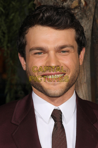 "Alden Ehrenreich.""Beautiful Creatures"" Los Angeles Premiere held at the TCL Chinese Theatre, Hollywood, California, USA. .February 6th, 2013.headshot portrait suit white shirt maroon burgundy purple stubble facial hair .CAP/CEL .©CelPh/Capital Pictures."