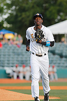Charleston RiverDogs shortstop Jorge Mateo (2) running in to the dugout during a game against the Hickory Crawdads at Joseph P. Riley Jr. Ballpark on May 2, 2015 in Charleston, South Carolina. Hickory defeated Chaarleston  4-1. (Robert Gurganus/Four Seam Images)