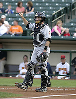 May 14, 2004:  Catcher Mark Johnson of the Indianapolis Indians, Triple-A International League affiliate of the Milwaukee Brewers, during a game at Frontier Field in Rochester, NY.  Photo by:  Mike Janes/Four Seam Images