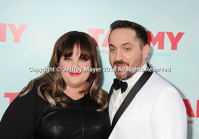 HOLLYWOOD, CA- JUNE 30: Actress Melissa McCarthy (L) and husband/actor Ben Falcone arrive at the 'Tammy' - Los Angeles Premiere at TCL Chinese Theatre on June 30, 2014 in Hollywood, California.