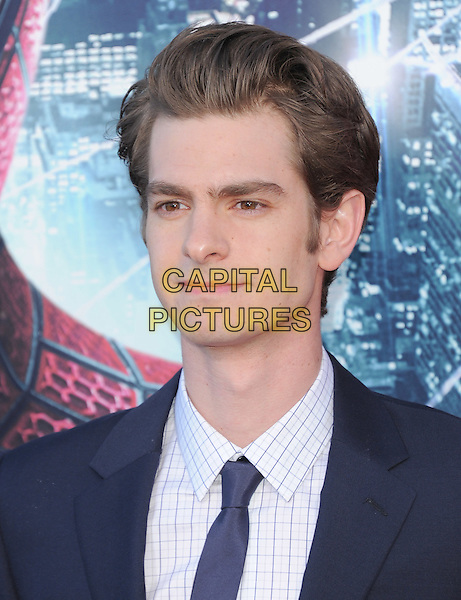 Andrew Garfield.'The Amazing Spider-Man' Premiere held at Regency Village Theater in Westwood, California, USA. .June 28th, 2012.headshot portrait blue white shirt tie check .CAP/RKE/DVS.©DVS/RockinExposures/Capital Pictures.