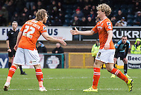 Cameron McGeehan of Luton Town celebrates his goal with Craig Mackail-Smith of Luton Town during the Sky Bet League 2 match between Wycombe Wanderers and Luton Town at Adams Park, High Wycombe, England on 6 February 2016. Photo by Massimo Martino.