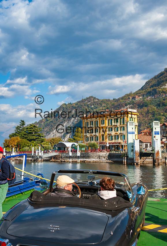 Italy, Lombardia, Varenna: ferry approaching Varenna | Italien, Lombardei, Varenna: auf der Faehre kurz vor dem Anlegen in Varenna