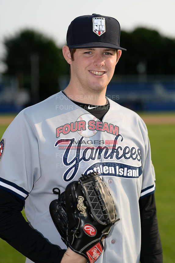 Staten Island Yankees pitcher Jordan Montgomery (45) poses for a photo before a game against the Batavia Muckdogs on August 8, 2014 at Dwyer Stadium in Batavia, New York.  Staten Island defeated Batavia 4-2.  (Mike Janes/Four Seam Images)