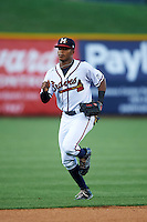 Mississippi Braves outfielder Mallex Smith (1) jogs to the dugout during a game against the Pensacola Blue Wahoos on May 27, 2015 at Trustmark Park in Pearl, Mississippi.  Pensacola defeated Mississippi 7-5 in fourteen innings.  (Mike Janes/Four Seam Images)