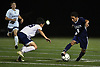 Brayan Matamoros Dubon #6 of Hewlett, right, moves a ball downfield during a Nassau County Conference A-3 varsity boys soccer game against Jericho at Hewlett High School on Wednesday, Oct. 10, 2018. Hewlett won by a score of 4-2.