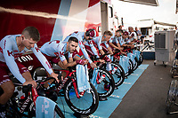 Team Katusha-Alpecin warming up at the stage start in Torrevieja <br /> <br /> Stage 1 (TTT): Salinas de Torrevieja to Torrevieja (13.4km)<br /> La Vuelta 2019<br /> <br /> ©kramon