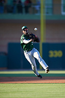 Daytona Tortugas shortstop Alfredo Rodriguez (2) throws to first base during a game against the Florida Fire Frogs on April 6, 2017 at Osceola County Stadium in Kissimmee, Florida.  Daytona defeated Florida 3-1.  (Mike Janes/Four Seam Images)