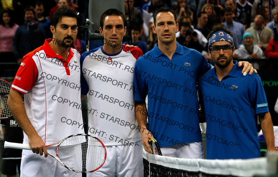Tenis, Davis Cup 2010.Serbia Vs. France, final.Doubles.Nenad Zimonjic and Viktor Troicki Vs. Michael Llodra and Arnaud Clement.Beograd, 04.12.2010..foto: Srdjan Stevanovic/Starsportphoto ©