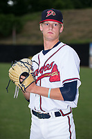 Danville Braves pitcher Landon Hughes (23) poses for a photo prior to the game against the Princeton Rays at American Legion Post 325 Field on June 25, 2017 in Danville, Virginia.  The Braves walked-off the Rays 7-6 in 11 innings.  (Brian Westerholt/Four Seam Images)