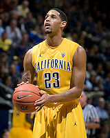 Allen Crabbe of California prepares to shoot a free throw during the game against Stanford at Haas Pavilion in Berkeley, California on January  29th, 2012.   California defeated Stanford, 69-59.